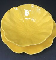 Vintage Set Metlox Poppytrail Lotus Yellow Pattern 680 Soup Bowl Salad Plate