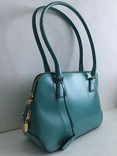 BNWOT SALVATORE FERRAGAMO TURQUOISE BLUE LEATHER EAST WEST STYLE BAG PADLOCK/KEY