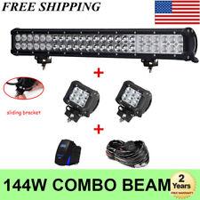 23Inch LED Light Bar Combo Beam Wiring Pods For SUV Polaris Ranger General ATV