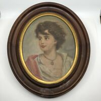 """VTG Oil Painting On Board Young Woman Unsigned In 18""""x15"""" Wood Oval Frame"""