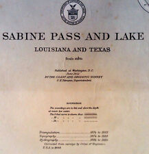 1911 Sea Chart Port Arthur Texas Louisiana Antique Map Coastal Sailing (1913)