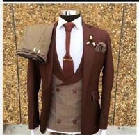 Check Pants Jacket Blazer Coat Vest Men Suits Wedding Tuxedos Groomsman 3Pieces