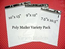 100 Poly Bag Mailer Variety Pack 3 Medium Sizes Shipping Bag Envelopes