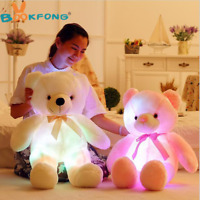Light Up LED Teddy Bear Doll Stuffed Animals Plush Soft Toys Kids Xmas Gils Gift