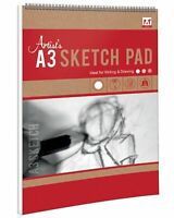 A3 Wirebound Artists Sketch Pad 25 Sheets 70gsm Drawing Art Book