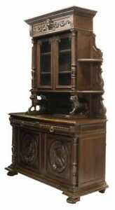 Antique Hunt Sideboard, French Well-Carved Oak Hunt with Game Birds, 1800's!