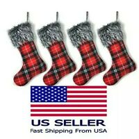 4 Pack Christmas Stockings Red Buffalo Super Soft Plaid Holiday Decor - 16 Inch