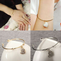 New Silver Charm Peach Heart Full Rhinestone Carve Open Cuff Bangle Bracelet