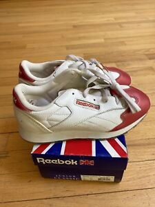 REEBOK Boys Classic Leather JUNIOR White Red 71-40673 Size 5.5