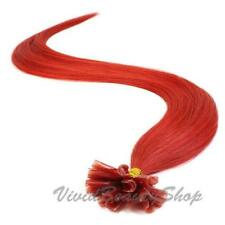 100 Red Pre Glued Bond U Nail Tip Keratin Fusion Remy Human Hair Extensions 22""