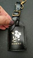 Authentic Louis Vuitton Black Leather Luggage Tag Rare Hawaii Plumeria & Heart