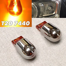 Front Turn Signal Light Silver Chrome Amber Bulb T20 7440 WY21W W21W for Subaru