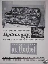 PUBLICITÉ M.FLACHET CANAPÉ TRANSFORMABLE HYDRAMATIC S'OUVRE ÉLECTRIQUEMENT