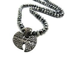 """New Iced Out WU TANG Pendant &8mm/24"""" Glass Beads Chain Necklace QZ81"""