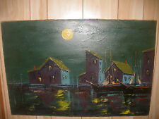 "LARGE 36"" VINTAGE  IMPRESSIONIST BOATS AT DOCK OIL PAINTING  SIGNED ILLEGIBLY"