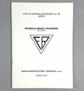 BOOK ORIGINAL FIREARMS OWNER'S MANUAL POLISH ARMY RADOM BERYL M96 223 5.56 x 45