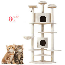 """80"""" Cat Tree Play House Tower Condo Furniture Scratch Post Basket Supplie"""