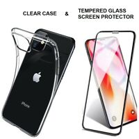 Case For iPhone 11 / 11 Pro Max Clear Cover & 5D Tempered Glass Screen Protector