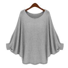 Damen Baggy Pullover Pulli Strickjacke Longpulli Jumper Bluse Tunika Sweatshirt