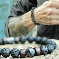 2020 Men Women Natural Stone 8mm Lava Rock Bracelet Elastic Yoga Beads Bracelet