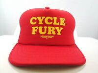Vintage Neighborhood Cycle Fury Red Mesh Hat Born to Raise Hell Cap Technical