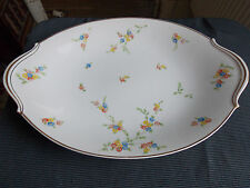 PORCELAINE DE LIMOGES RAYNAUD&Cie  PLAT OVALE ANSE  DECOR FLEUR FILETS DORE
