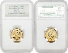 Great Britain Britannia 2001 (Una and the Lion) 25 Pounds 1/4 oz Gold NGC MS70