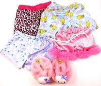Build Bear Workshop 4 Pair Girl's Pajama Bottoms & 1 Pair Hello Kitty Slippers