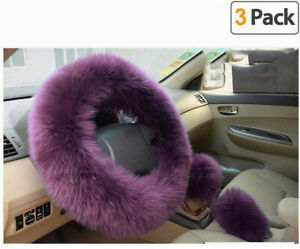 """3Pcs Fluffy Thick Fur Wool Car Steering Wheel Cover For Spring/Autumn/Winter 38"""""""