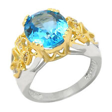 De Buman Two-tone 925 Silver 6.00ctw Swiss Blue Topaz Finger Fashion Ring, Size7