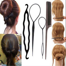 4pc Set Hair Styling Clip Bun Maker+Topsy Tail Braid Ponytail Maker Tool  IO