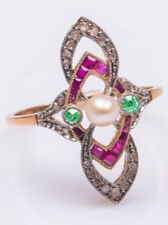 1.35cts Rose Cut Diamond Ruby Emerald Pearl Victorian 925 Silver Cocktail Ring