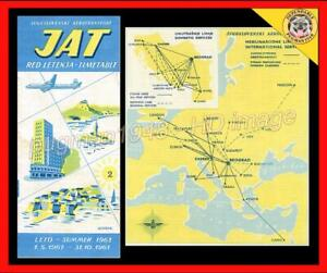 YUGOSLAV AIRLINES (JAT) 1961 AIRLINE TIMETABLE SCHEDULE...Jugoslovenski Aero