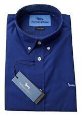 "Harmont & Blaine  2XL  Chest 48""  Blue NARROW FIT Short Sleeve Shirt  RRP £115"