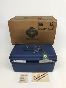 Vintage Samsonite Concord Blue Train Travel Make-Up Case Luggage w/ Tray & Key