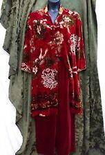 Harari Silk Velvet Womens 2 piece Duster Coat Red Print Pant Set Size L / XL
