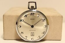 "VINTAGE RARE SWISS OPEN FACE MEN'S POCKET WATCH ""OSMAN"" 17 JEWELS WITH DATE"