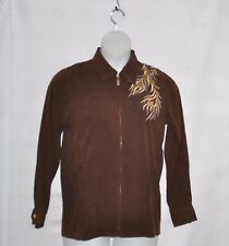 Bob Mackie Phoenix Bird Embroidered Moleskin Jacket Size S Chocolate