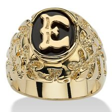 14K GOLD ONYX LETTER E INITIAL NUGGET RING SIZE GP 8 9 10 11 12 13