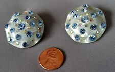 Vintage Amazing Pearlized Brilliant Rhinestone Celluloid Ruffle Disc Earrings