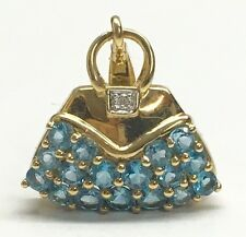 14kt Yellow Gold and Blue Stone Purse Charm