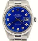 Mens Rolex Datejust Stainless Steel Watch President Style Band Blue Diamond Dial