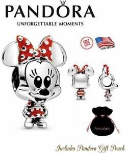 Authentic PANDORA Disney Baby Minnie Mouse Dotted Dress & Bow Charm #798880C02