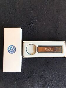 VW Golf Keychain ~ Metal and Leather ~ Volkswagen