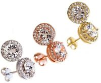 18K White Gold Plated  Round Genuine White Topaz Stud Earrings Choose Your Color