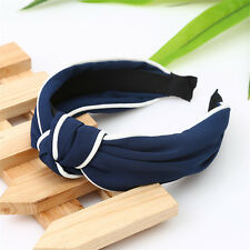 Navy blue Girl Twisted Knotted Headwear Wide Headband Hair Band Hiar Accessories