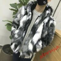 Mens Faux Fur Furry Hooded Warm Thicken Coat Jacket Outwear Zip Up Boys Parka