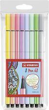Stabilo Pen 68 Pastel Felt Tipped Fibre Markes Pens Assorted Colours - Pack 8