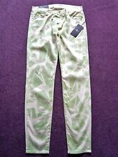BNWT 7 for all Mankind the skinny ray cream/green patterned jeans/trousers Sz 27