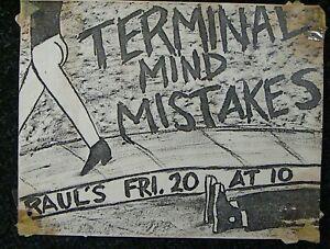 Terminal Mind @ Rauls AUSTIN TEXAS (1980) Punk Flyer
